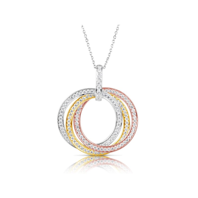 S. Kashi  & Sons Tri Color Diamond Pendant