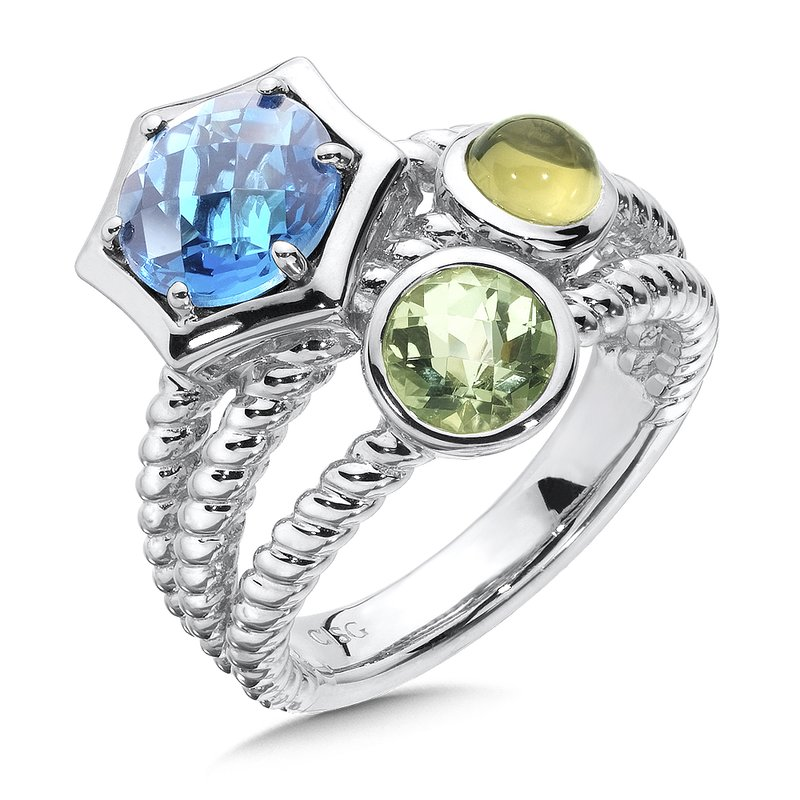 Colore Sg London Blue Topaz, Green Amethyst & Olive Green Quartz Ring in Sterling Silver