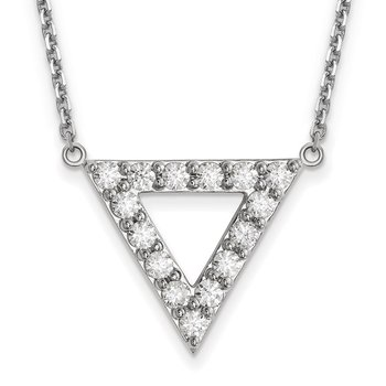 14k White Gold AA Quality Diamond 20mm Triangle Necklace