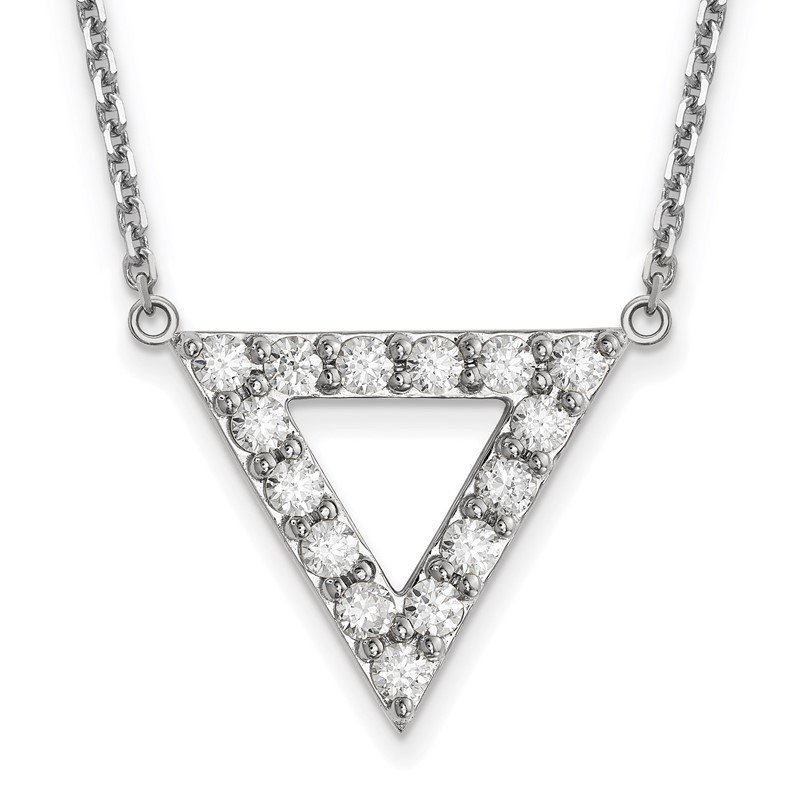 Quality Gold 14k White Gold AA Quality Diamond 20mm Triangle Necklace