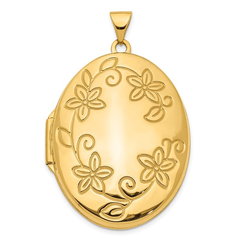 Quality Gold 14K 33mm Floral Oval Locket Pendant