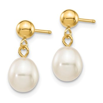 14k 6-7mm White Rice Freshwater Cultured Pearl Dangle Post Earrings