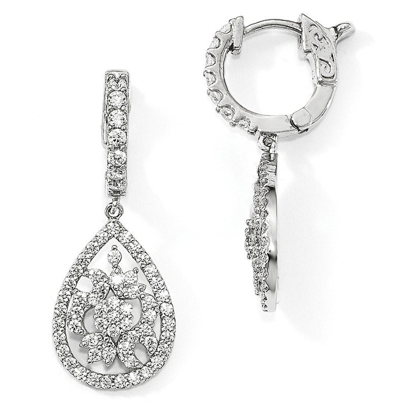Quality Gold Sterling Silver Rhodium-plated CZ Hinged Hoop Dangle Earrings