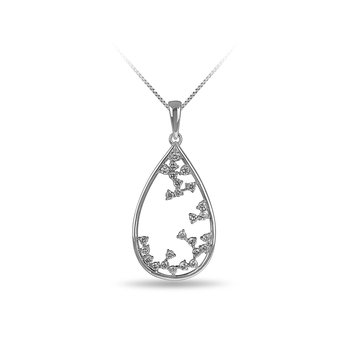 14K WG and diamond Drop shape pendant in prong setting