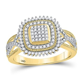 10kt Yellow Gold Womens Round Diamond Square Frame Cluster Ring 1/4 Cttw