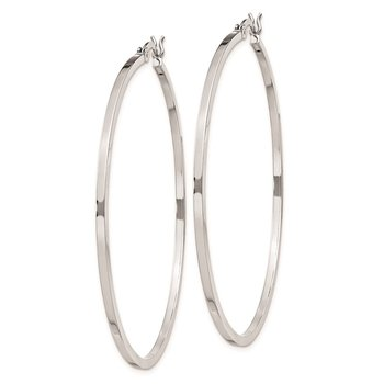 Sterling Silver Rhodium-plated 1.5x50mm Hoop Earrings