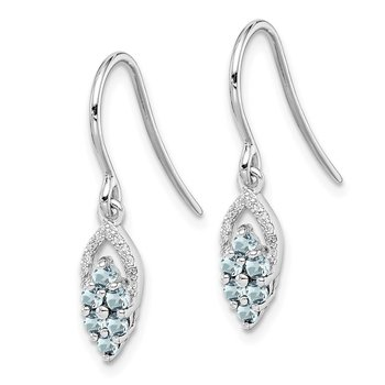 Sterling Silver Rhodium Diamond & Aquamarine Shepherd Hook Earrings