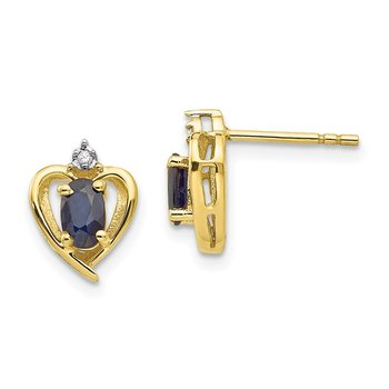 10K Diamond and Sapphire Earrings