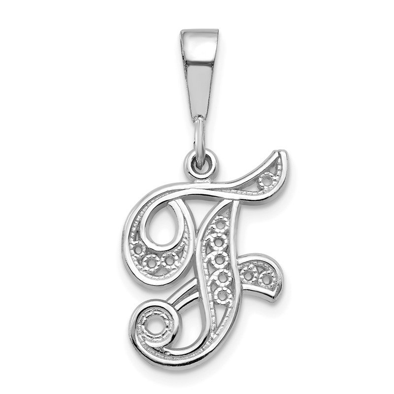 Quality Gold 14KW White Gold Solid Polished Script Filigree Letter F Initial Pendant