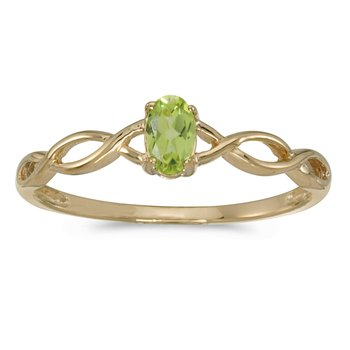 14k Yellow Gold Oval Peridot Ring