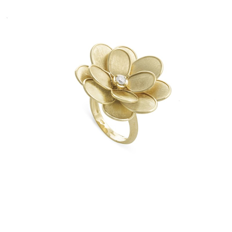 Marco Bicego Marco Bicego® Petali Collection 18K Yellow Gold and Diamond Large Flower Ring
