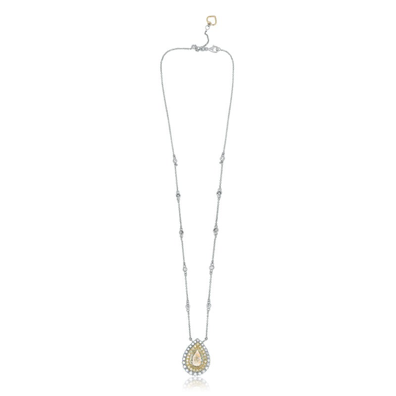 Roman & Jules Pear-shaped Two Tone Diamond Necklace