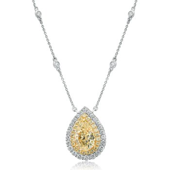 Pear-shaped Two Tone Diamond Necklace