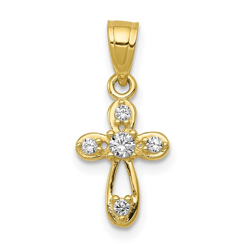 Quality Gold 10k Small CZ Cross Pendant