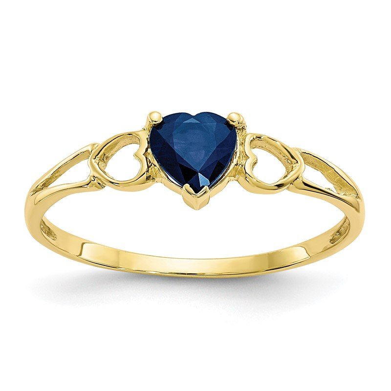 Quality Gold 10k Polished Geniune Sapphire Birthstone Ring