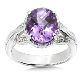 Sterling Silver Amethyst White Diamond Ring
