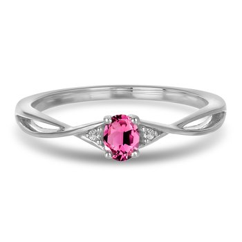 10K WG and diamond and Pink Tourmaline infinity style birthstone ring