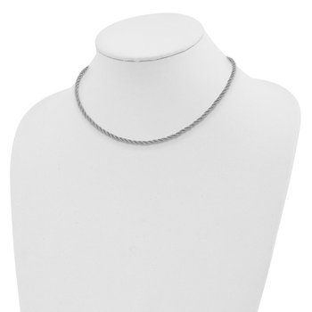 Sterling Silver Rhodium-plated Rope w/4in. Ext. Choker Necklace