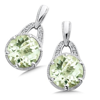 Sterling Silver Green Amethyst White Diamond Post Earrings