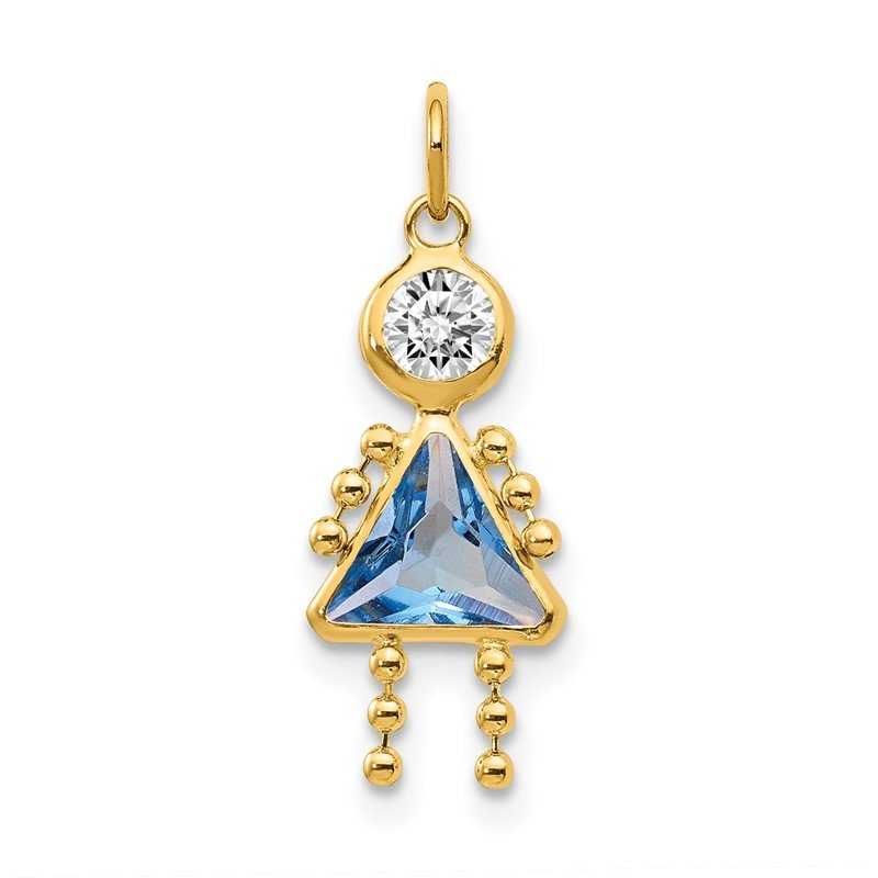 Quality Gold 14k March Girl Birthstone Charm