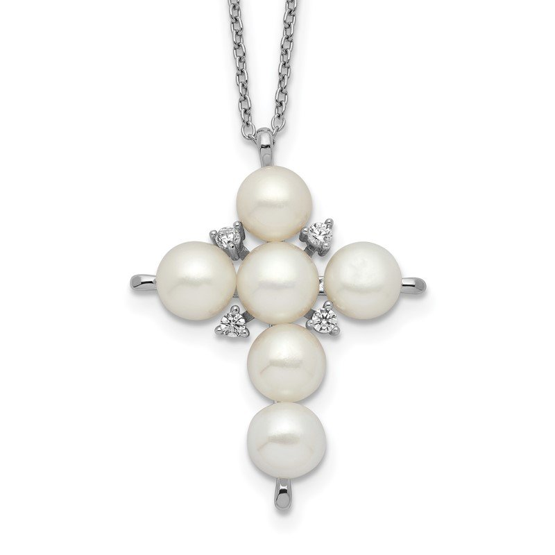 Quality Gold Sterling Silver Rhod-plated 6-7mm White Button FWC Pearl CZ Cross Necklace
