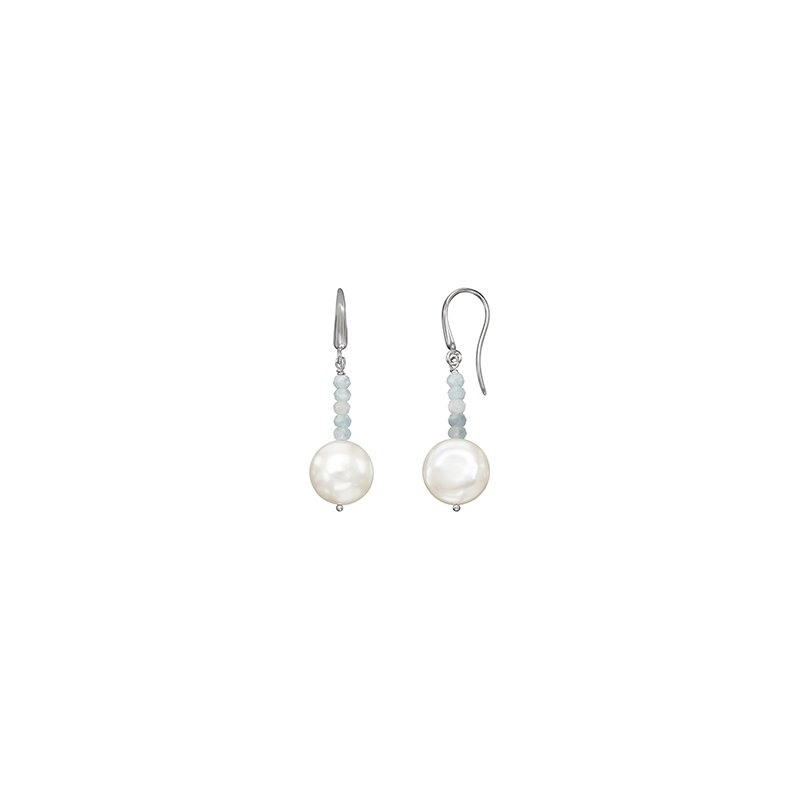 Honora Honora Sterling Silver 13-14mm White Coin Freshwater Cultured Pearl with Aquamarine Bead Drop Earrings