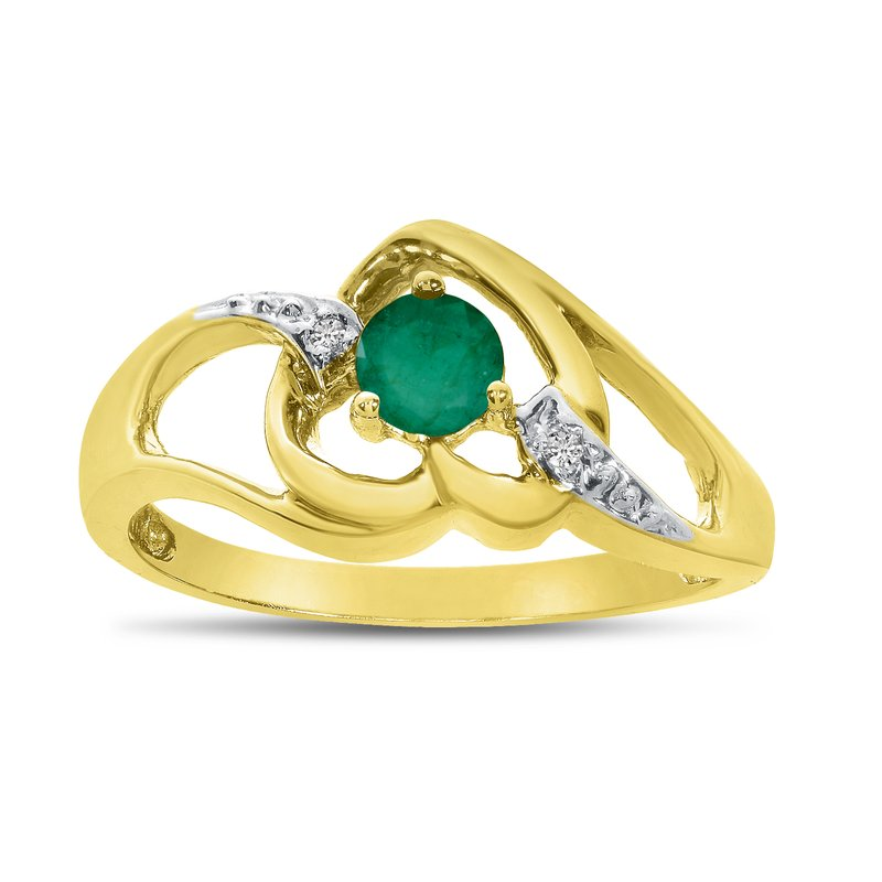 Color Merchants 10k Yellow Gold Round Emerald And Diamond Heart Ring