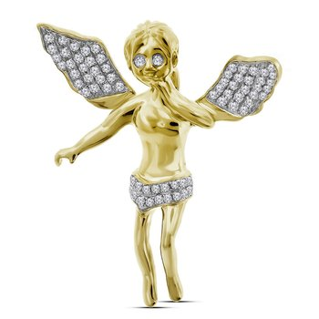 10kt Yellow Gold Mens Round Diamond Guardian Angel Wings Cherub Charm Pendant 3/8 Cttw