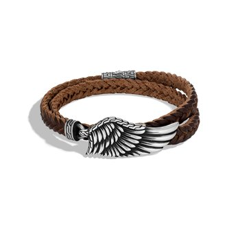 Legends Eagle Wrap Bracelet in Silver with Leather