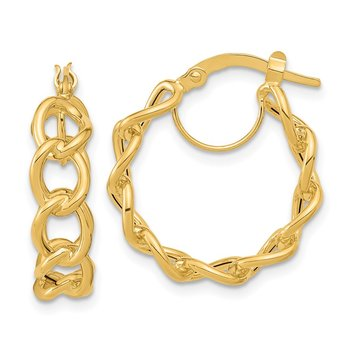 14k Polished Cable Link Circle Hoop Earrings