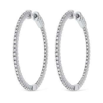 Diamond Inside Outside Hoop Earrings in 14k White Gold with 100 Diamonds weighing .94ct tw.