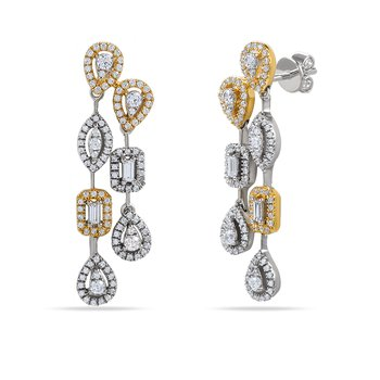 14K beautiful multi shape earrings 230 Diamonds 0.93C & 4 baguette 0.12C