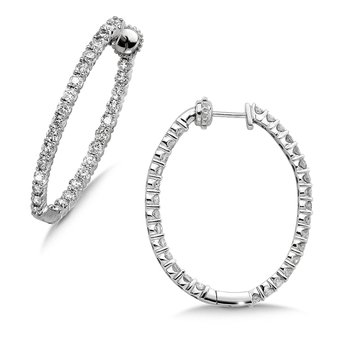 Pave set Diamond Oval Reflection Hoops in 14k White Gold (4ct. tw.) GH/SI1-SI2