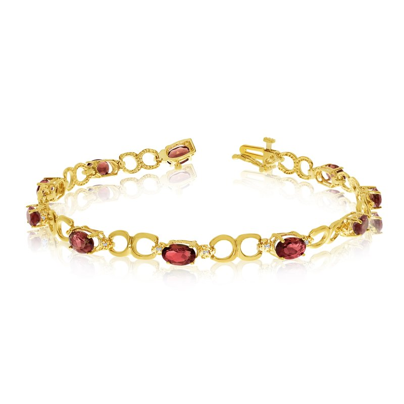 Color Merchants 10K Yellow Gold Oval Garnet and Diamond Bracelet