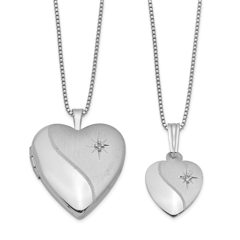 Quality Gold Sterling Silver RH-plated Diamond Polished Satin Heart Locket & Pendant Set