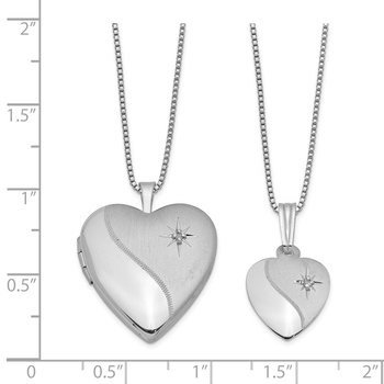 Sterling Silver RH-plated Diamond Polished Satin Heart Locket & Pendant Set