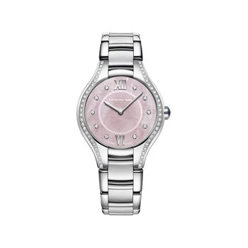 Ladies Quartz Watch, 32 mm Steel on steel, pink dial, 62 diamonds