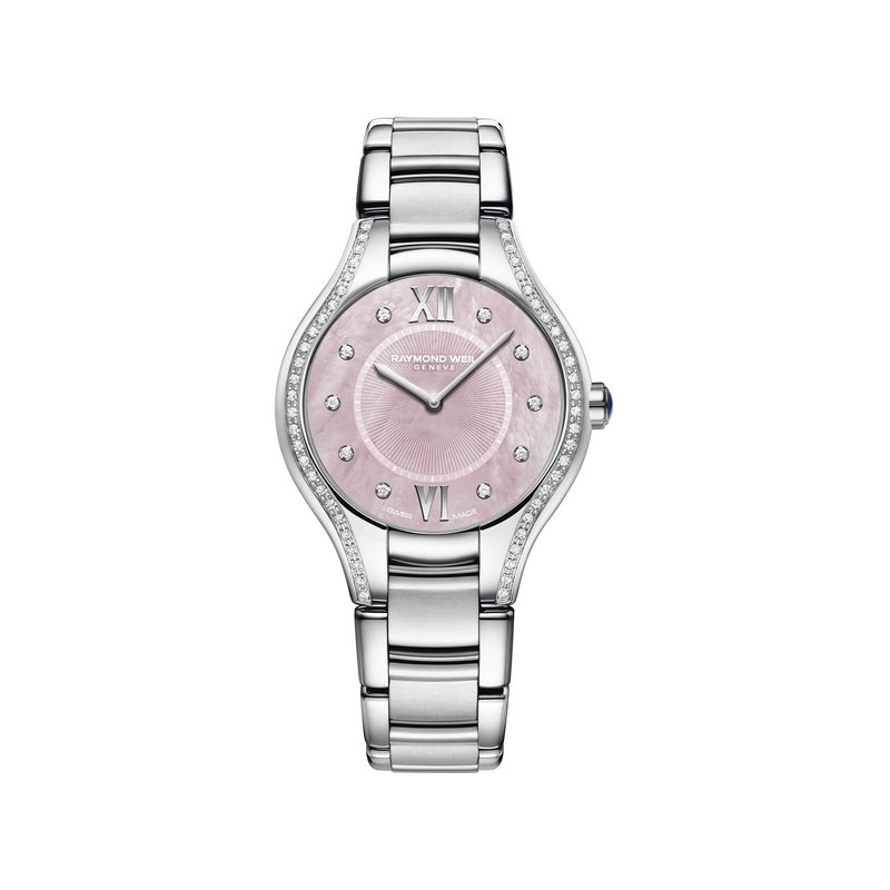 Raymond Weil Ladies Quartz Watch, 32 mm Steel on steel, pink dial, 62 diamonds