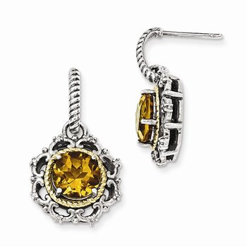 Sterling Silver w/14k Antiqued Citrine & Diamond Post Earrings