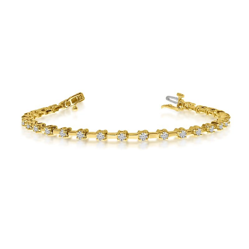 14K Yellow Gold 2 Ct. Diamond Petite Bar Tennis Bracelet