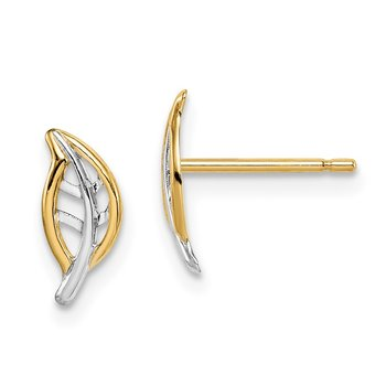 14k Madi K & White Rhodium Leaf Post Earrings