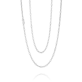 Staggered Link Silver Chain - 38 inches