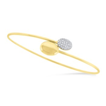 14K Gold and Diamond Bangle