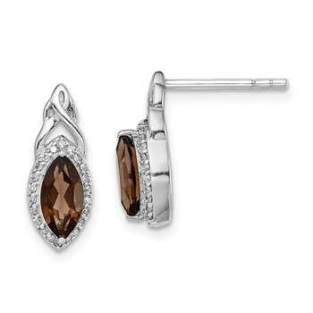 Sterling Silver Rhodium-plated Diamond & Smoky Quartz Post Earrings