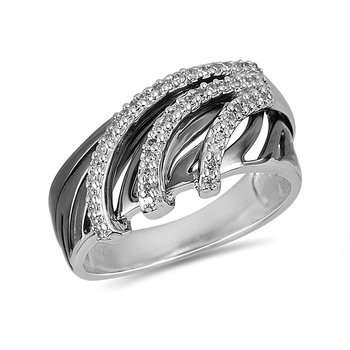 925 SS and Diamond Band in Black Rhodium Finish
