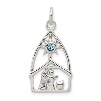 Sterling Silver & Stellux Crystal Nativity Charm