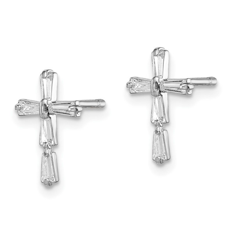 JC Sipe Essentials Sterling Silver Rhodium-plated Madi K CZ Children's Cross Post Earrings
