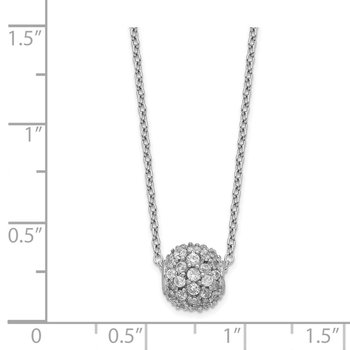 Sterling Silver Rhodium-plated CZ Bead w/2in ext Necklace