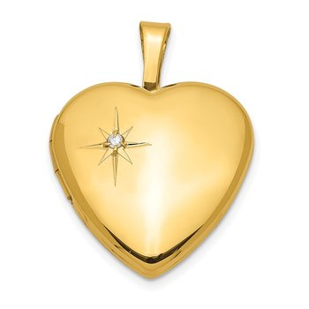 Sterling Silver Gold-plated & Diamond 16mm Heart Locket