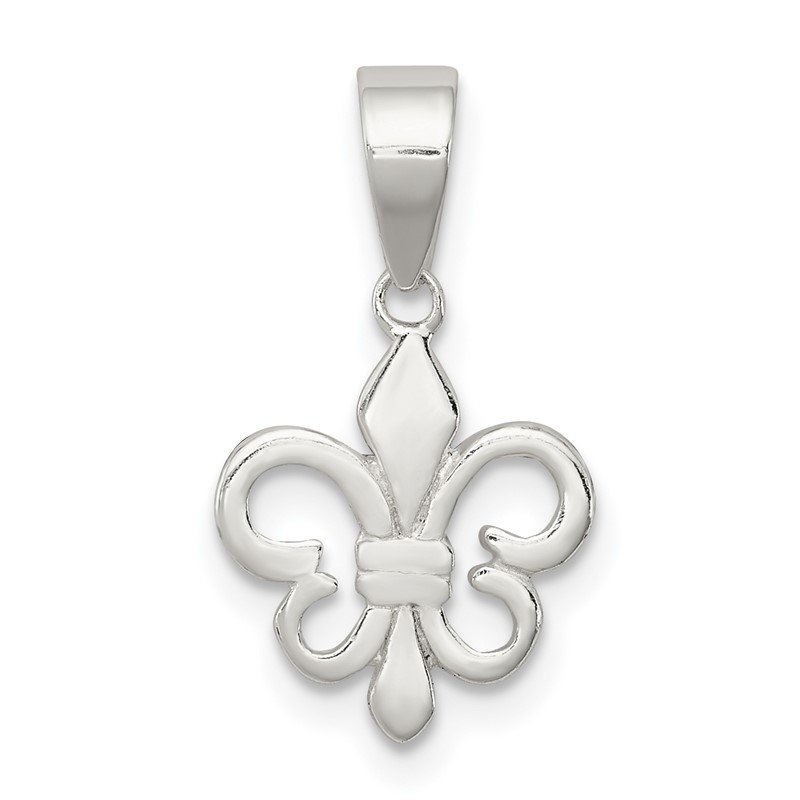 Quality Gold Sterling Silver Polished Fleur De Lis Pendant